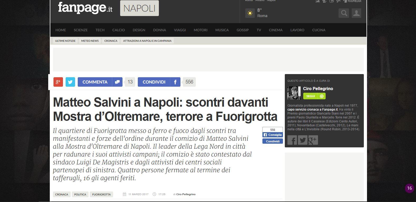 Scontri Napoli Salvini Fanpage