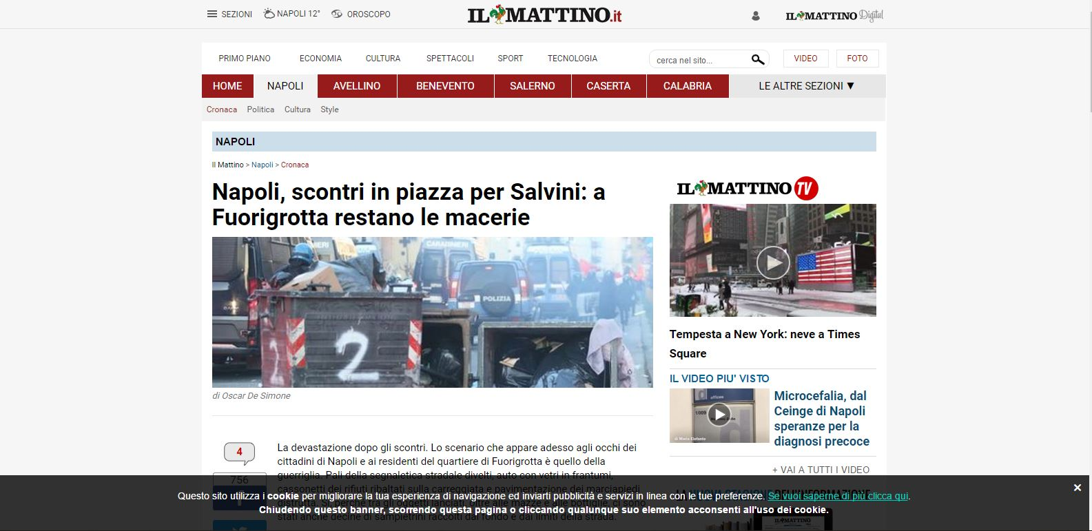 Scontri Napoli Salvini Mattino