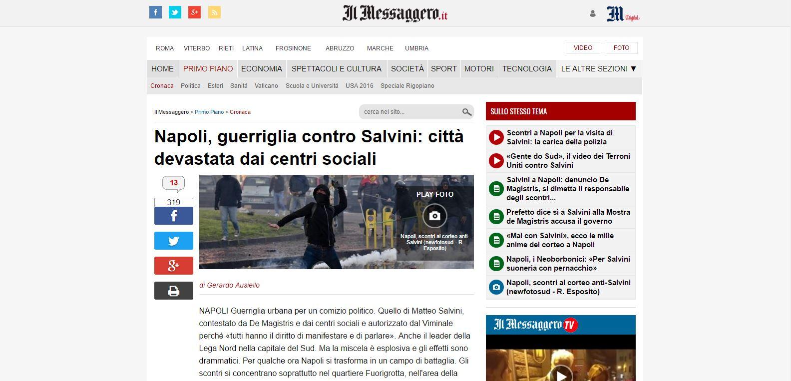 Scontri Napoli Salvini Messaggero