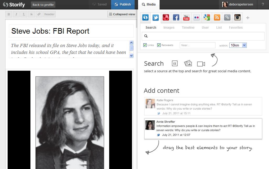 La logica di Storify, forme digitali di accesso all'esperienza e montaggio